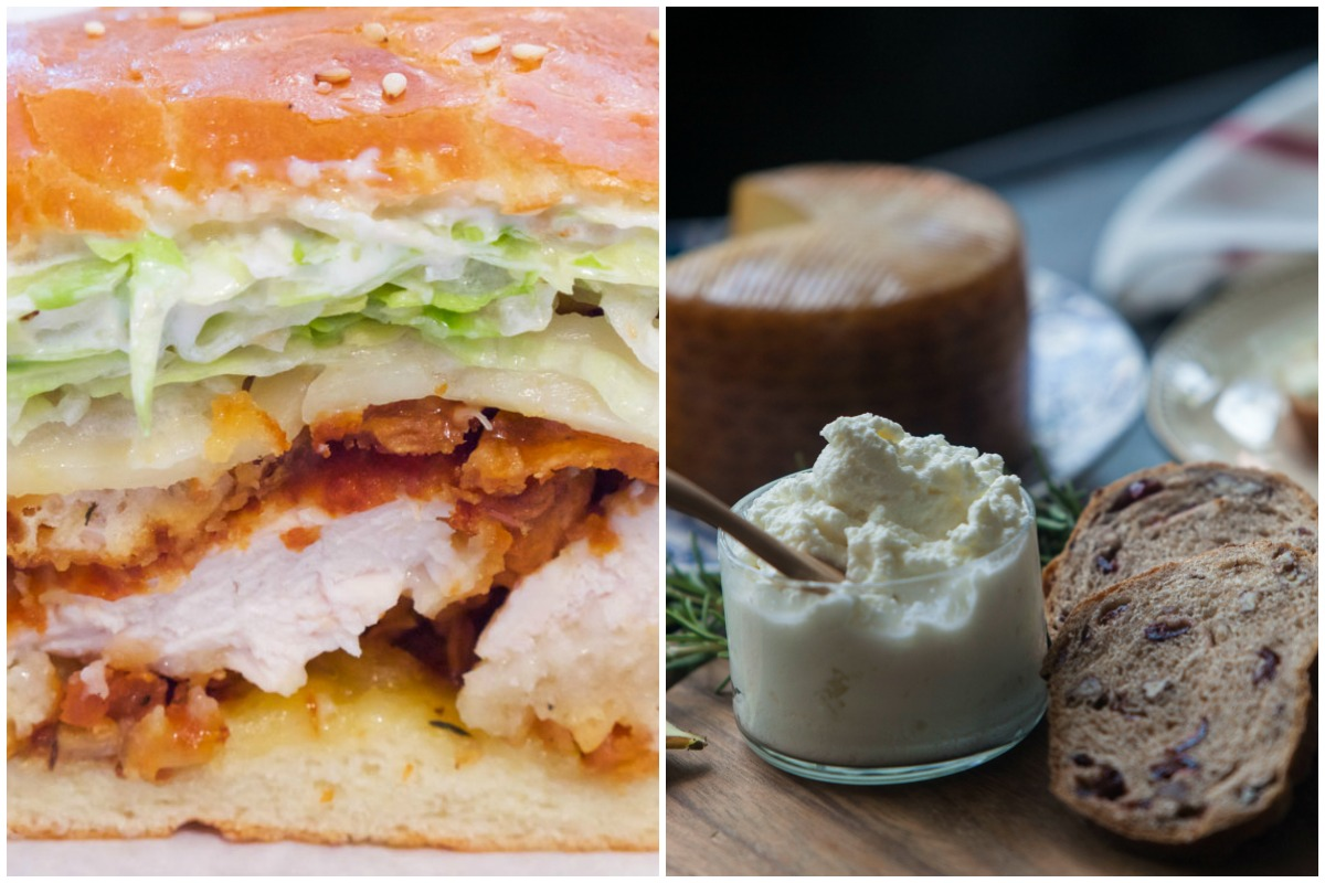 """Cutty's Super Cluckin' Chicken Sandwich photo by Katie Chudy for """"Man Food"""" / Curds & Co. cheese board photo by Aynsley Floyd"""