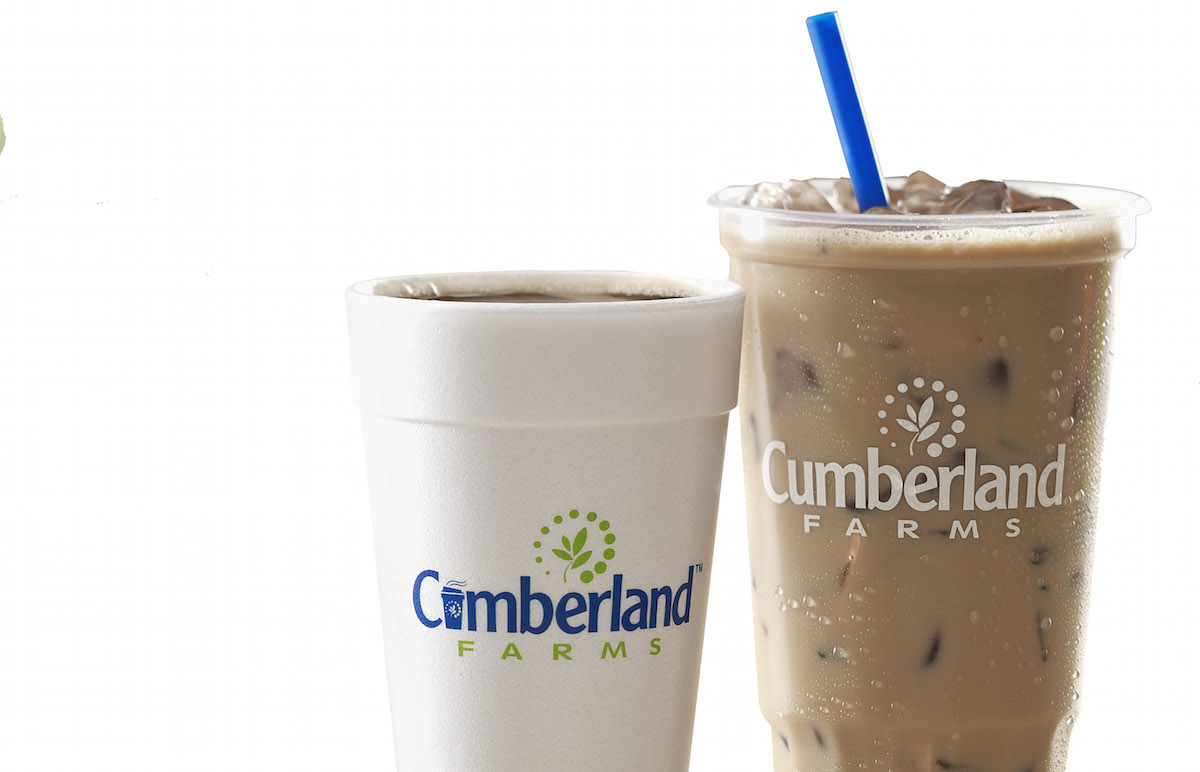 A hot coffee and an iced coffee from Cumberland Farms