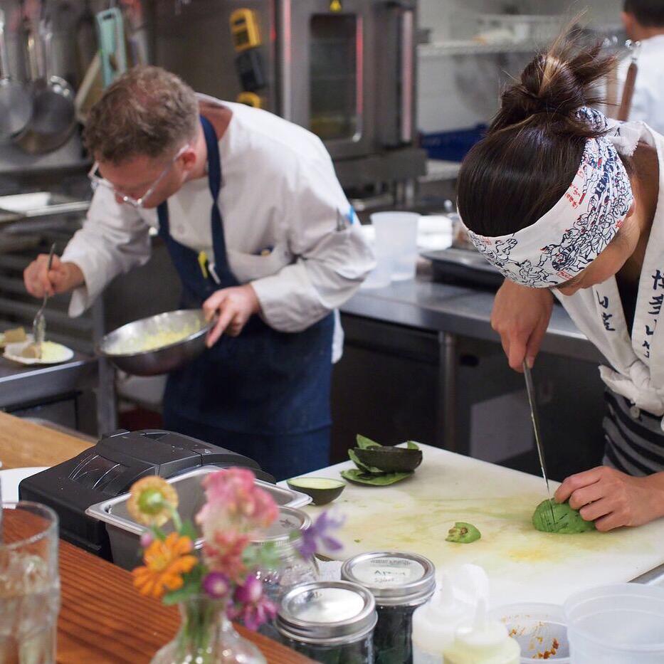 Chefs Josh Lewin and Moe Kuroki at las year's Kaizen dinner at Juliet