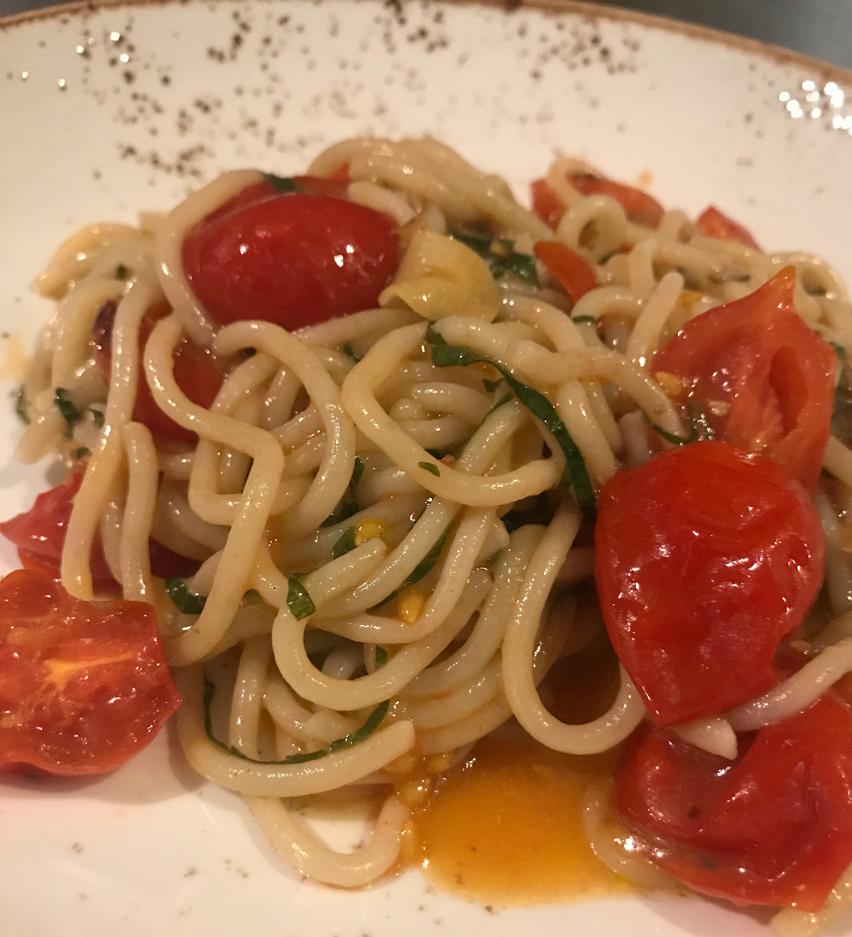 Chef Dante de Magistris is offering Piennolo tomatoes with <em>aglio e olio</em> at his three Boston-area restaurants this weekend