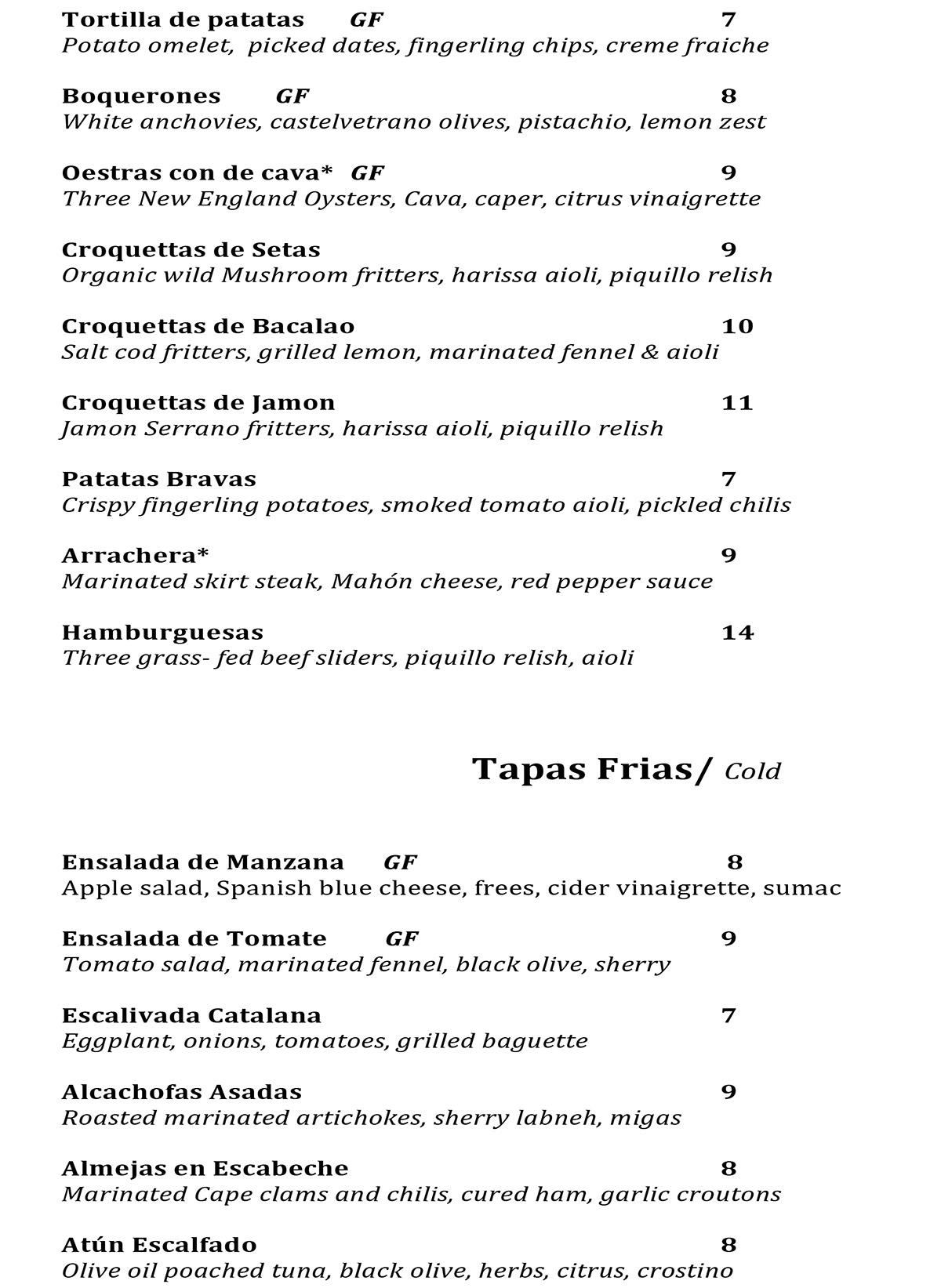 Madera 83 menu Charlestown