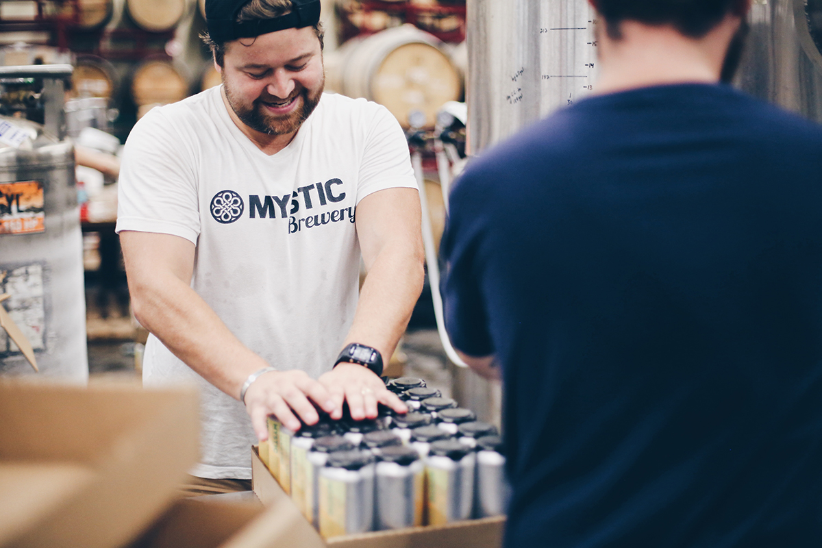 Mystic is now selling cans at its Chelsea brewery