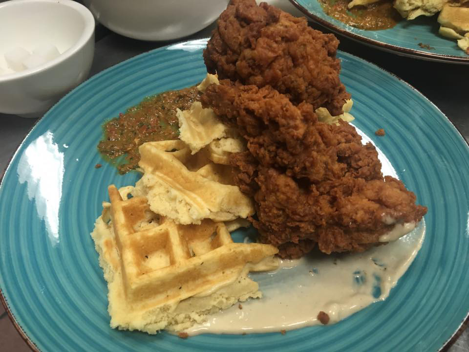 Twice-fried Yemenite Fried Chicken & Waffles at Simcha in Rozzie