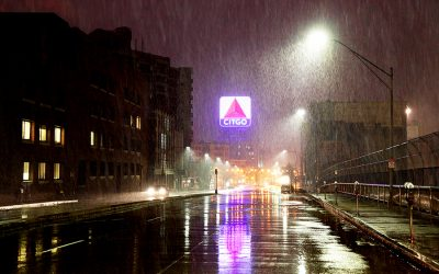 Boston, Massachusetts, USA - February 5, 2016: The iconic Citgo sign along Commonwealth Avenue on a rainy night in the Fenway Kenmore neighborhood