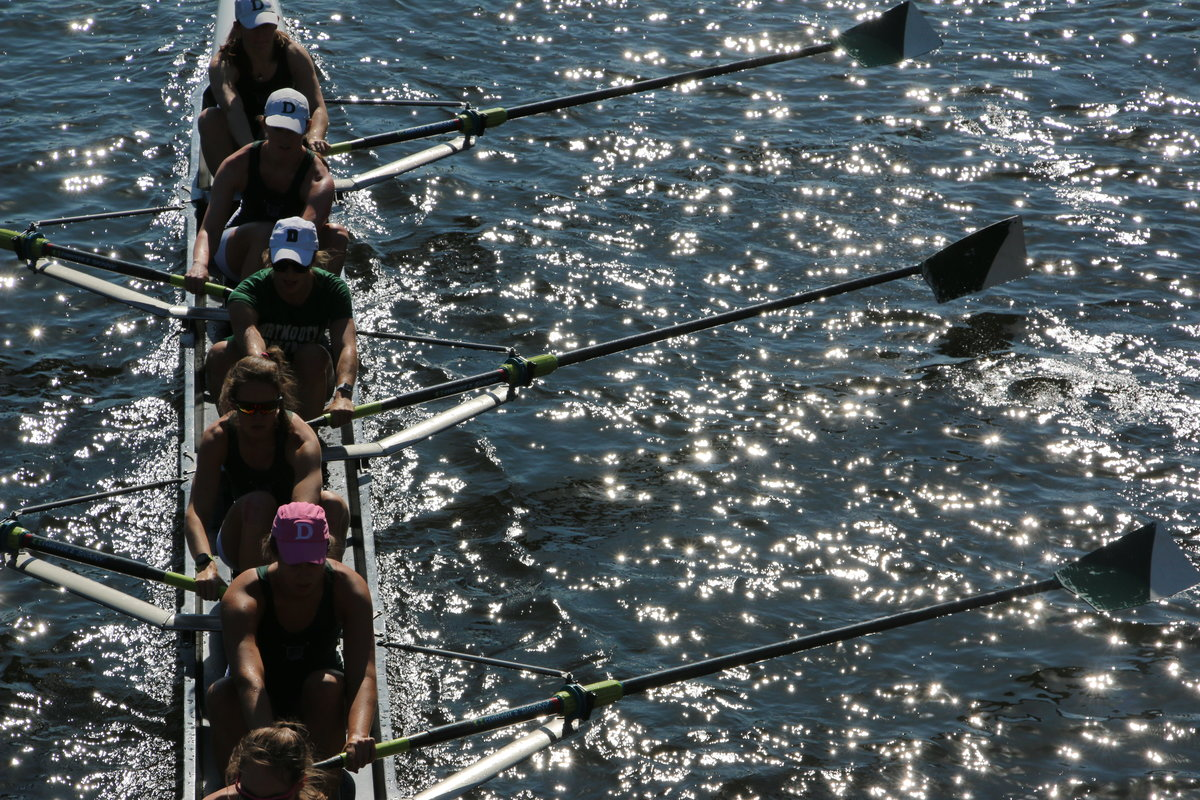 Dartmouth rowers from above