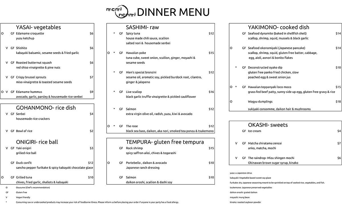 Momi Nonmi menu Cambridge