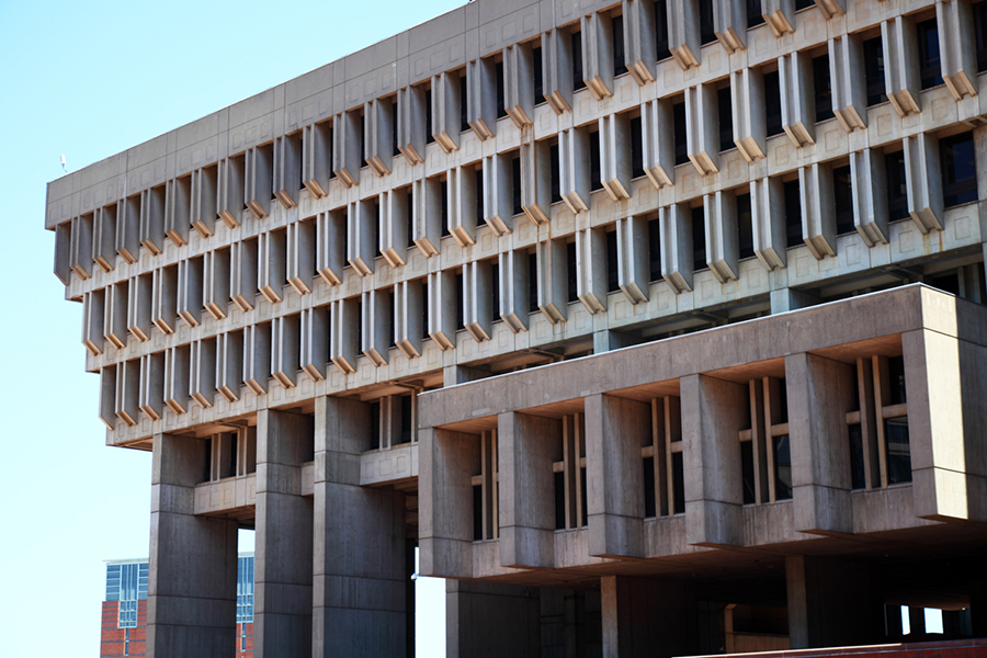 A side view of Boston City Hall