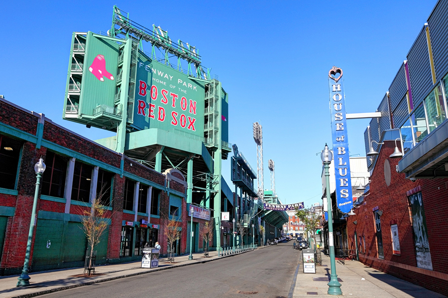 "The outside of Fenway Park reads ""Boston Red Sox"""