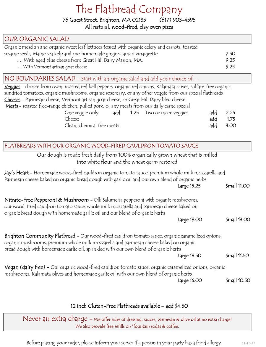 Flatbread Brighton menu