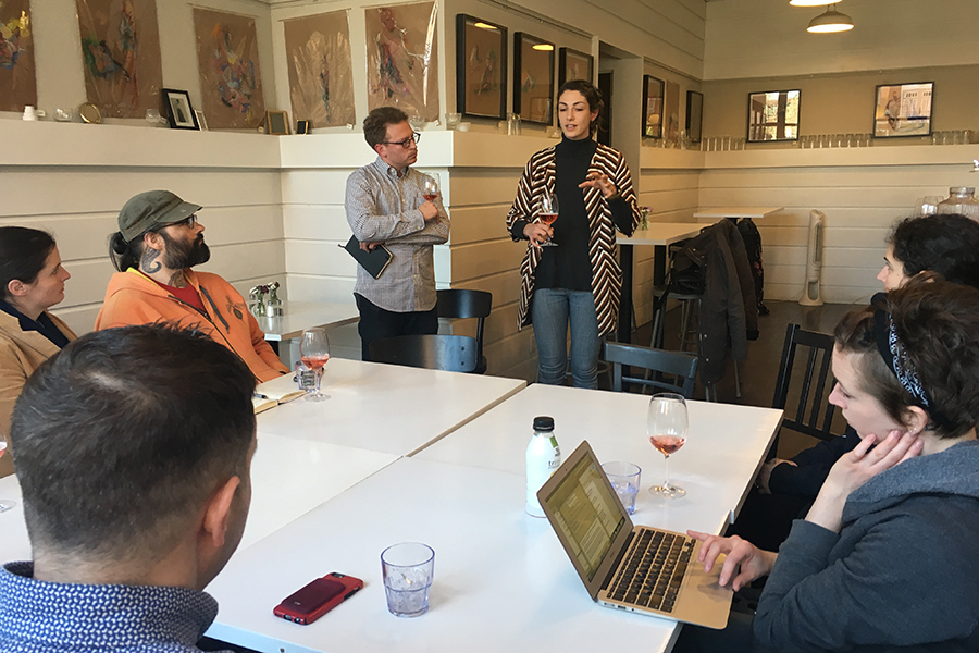 Josh Lewin and Katrina Jazayeri lead a conversation on open-book management at Juliet in April 2017