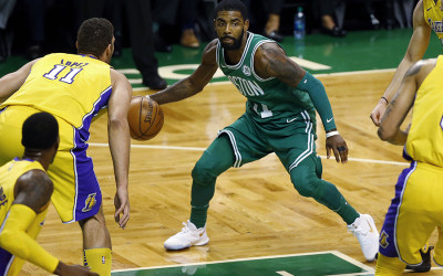 Boston Celtics' Kyrie Irving looks for an opening on Wednesday, Nov. 8, 2017