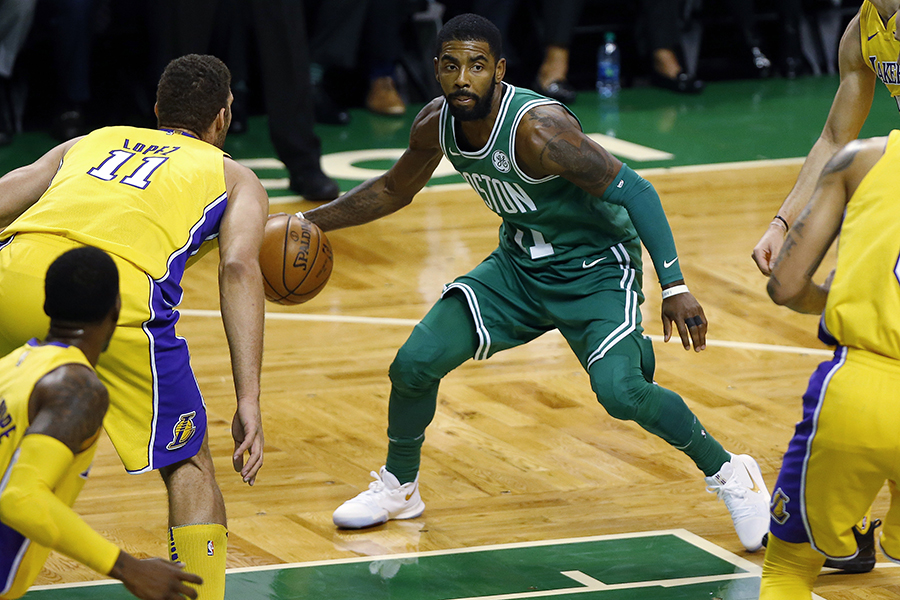 Boston Celtics' Kyrie Irving looks for an opening on Wednesday, Nov. 8, 2017