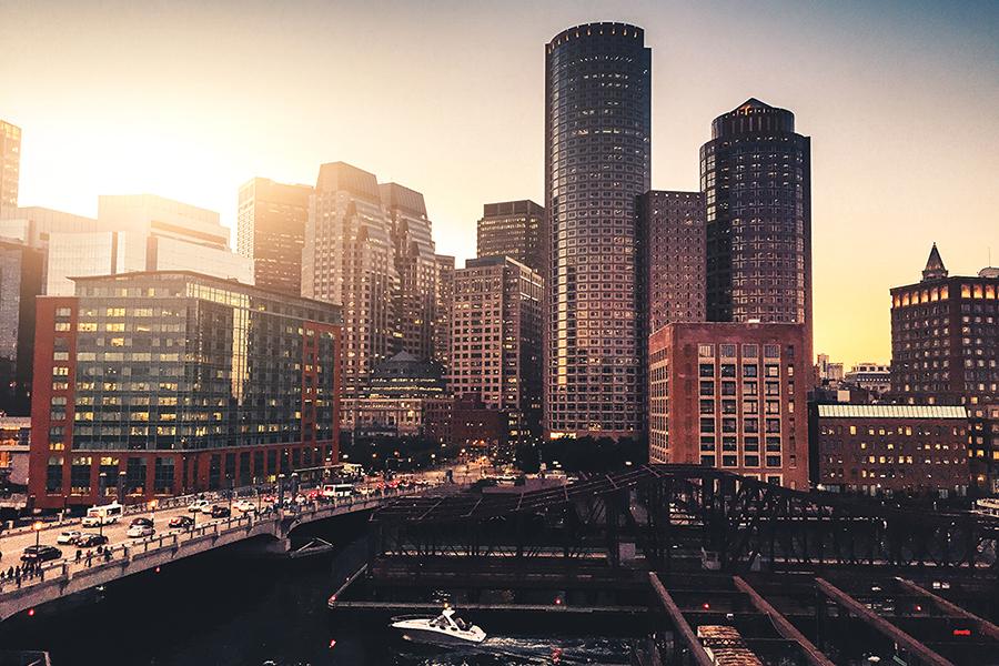 The Boston skyline at sunrise
