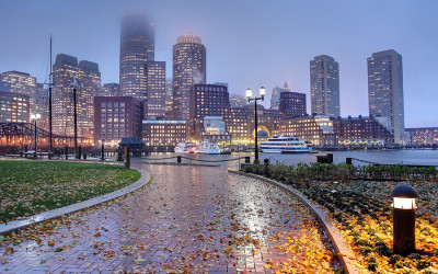 The Boston skyline engulfed in rain and fog