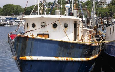 A blue and white fishing boat