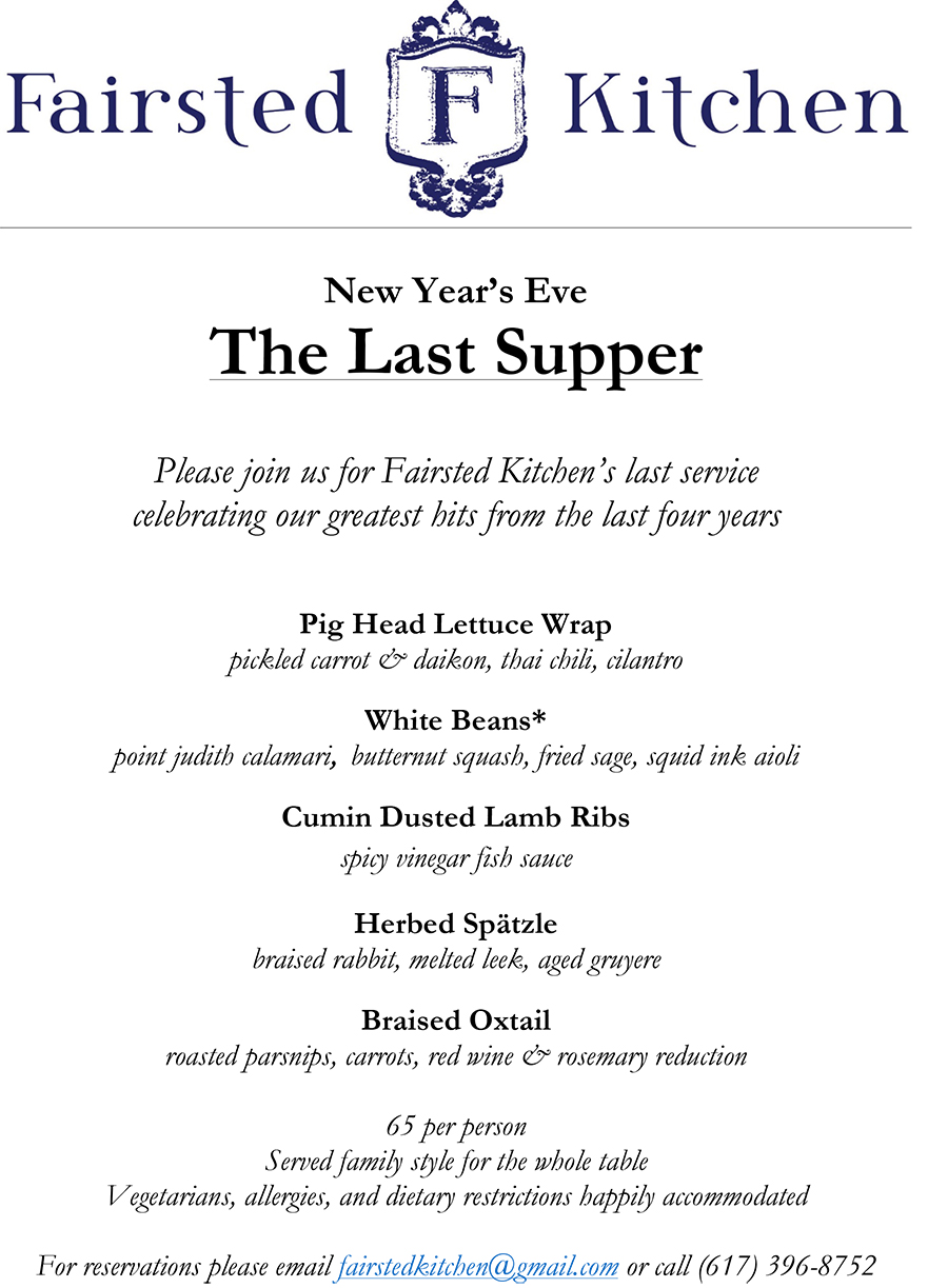 The Last Supper at Fairsted Kitchen menu