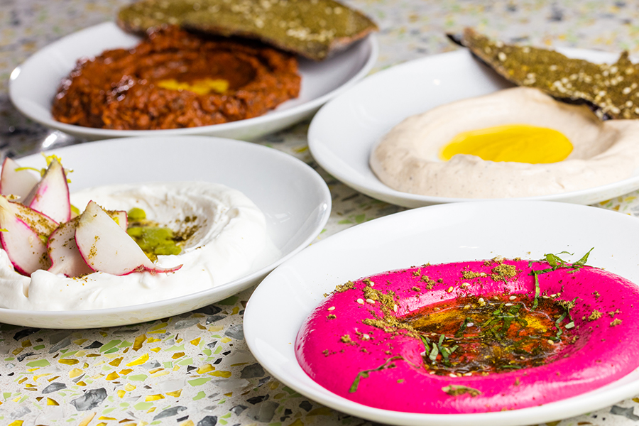 A selection of hummus at Our Fathers Deli
