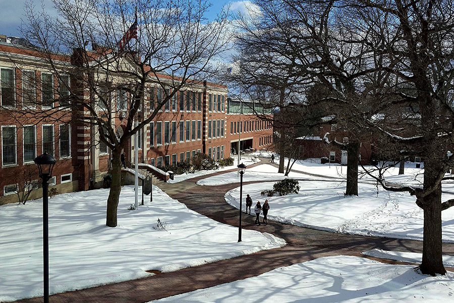 The Framingham State University campus covered in snow