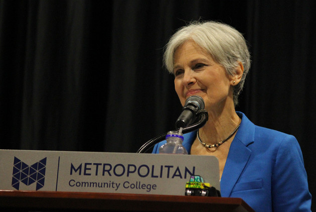 Jill Stein speaks at a lectern