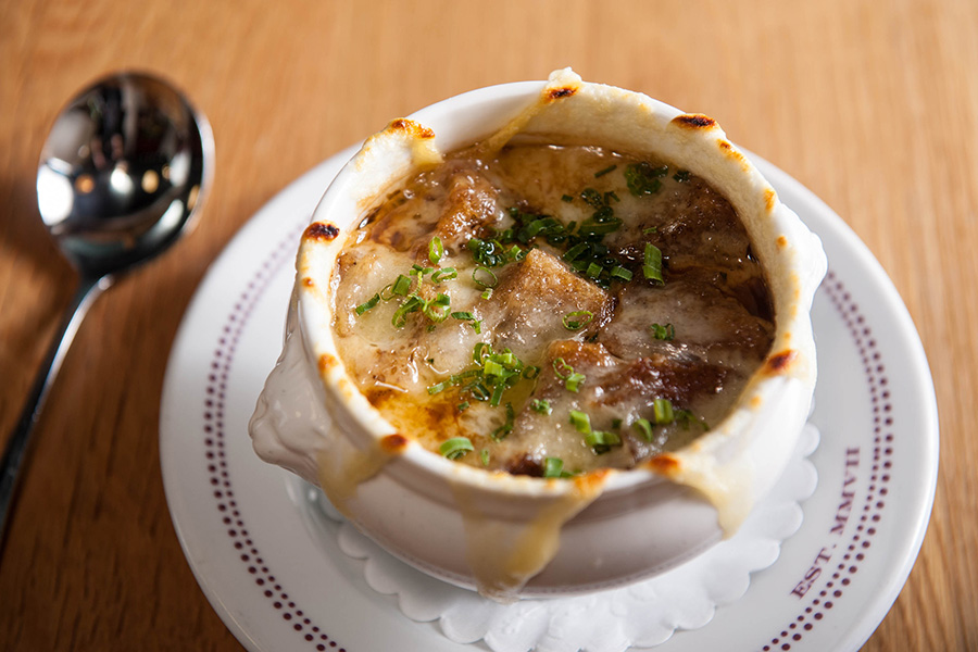 French onion soup at Bar Boulud Boston