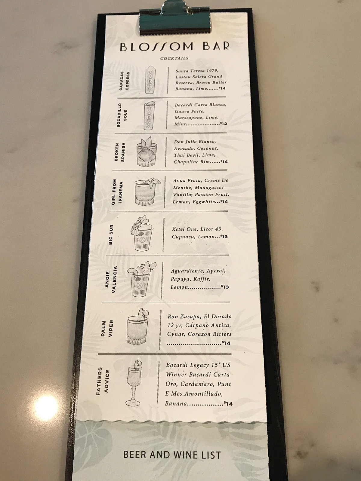 Cocktail menu at Blossom Bar in Brookline