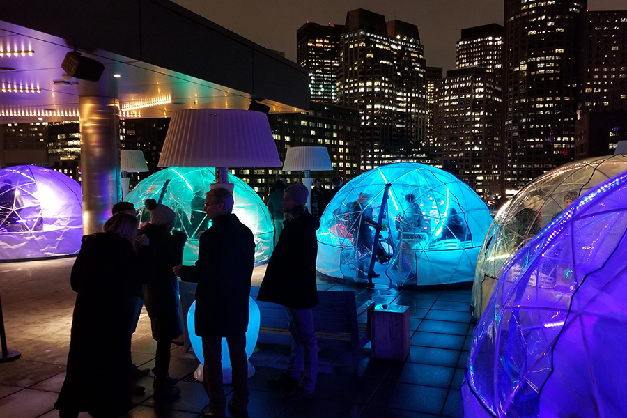 The igloos at the Lookout Bar at the Envoy Hotel