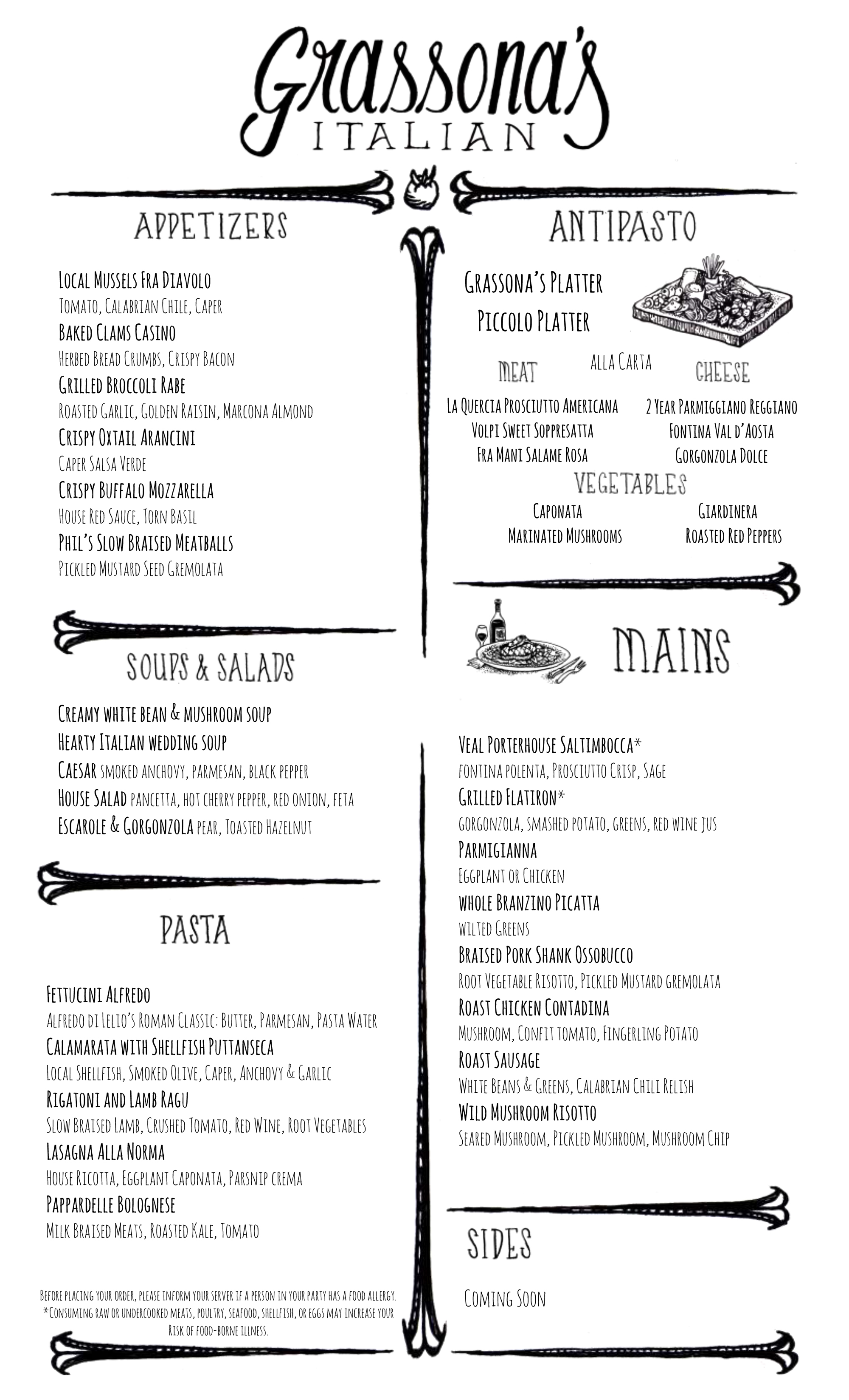 Grassona's Italian opening food Menu