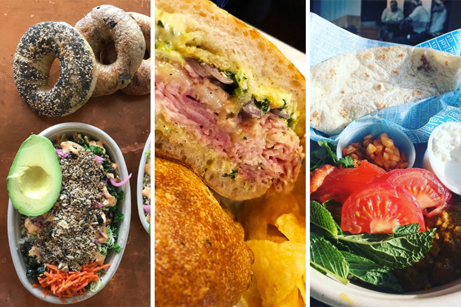 """The Bagelsaurus """"Eggspañola Bowl"""" at Whole Heart Provisions photo / the Catalyst """"Fully Committed"""" Sandwich at Parish Café / Tiger Mama """"The Super T"""" at Saloniki"""