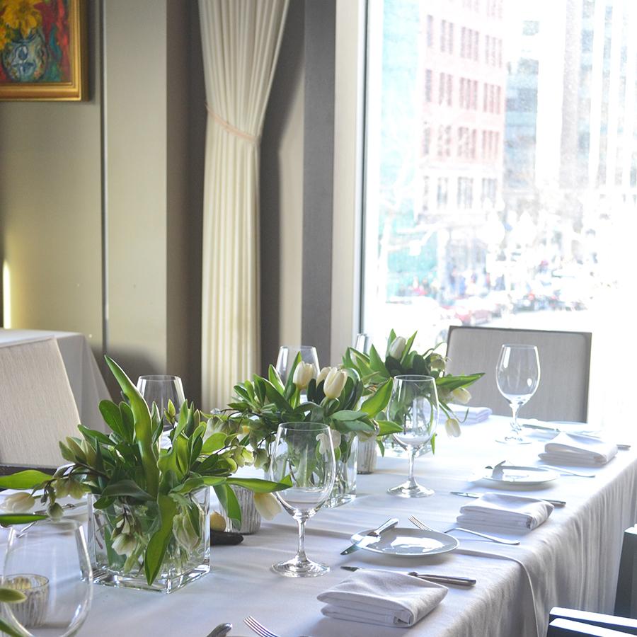 A table set at Boston's L'Espalier