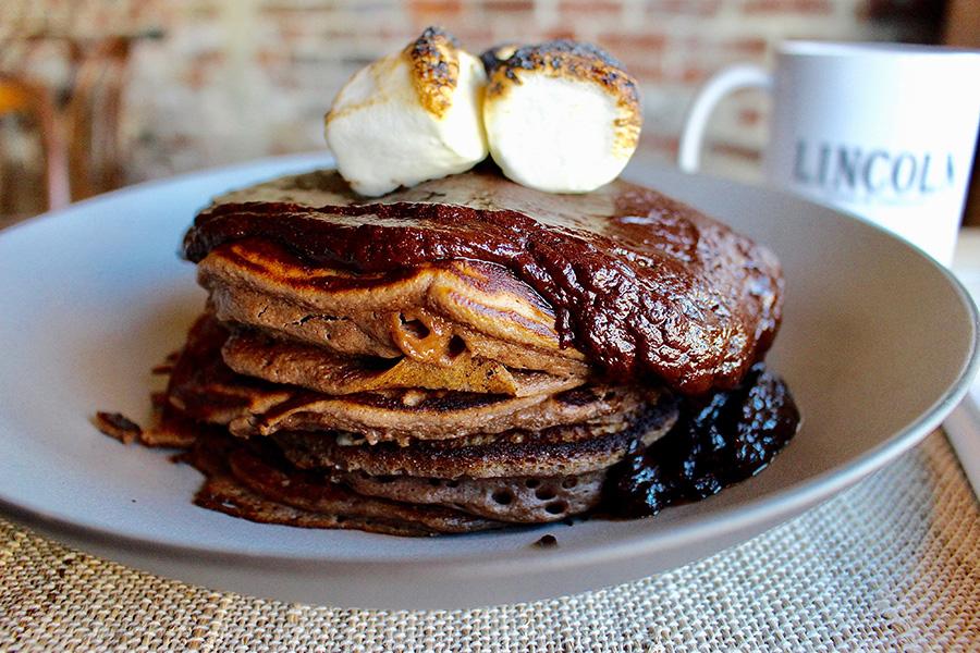 Hot chocolate pancakes at Lincoln Tavern