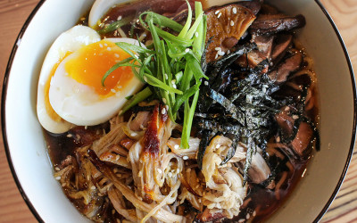 Signature bacon dashi ramen at Lincoln Tavern