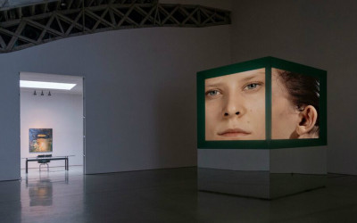 A woman's face on a box at the Art in the Age of the Internet at the Museum of Contemporary Art
