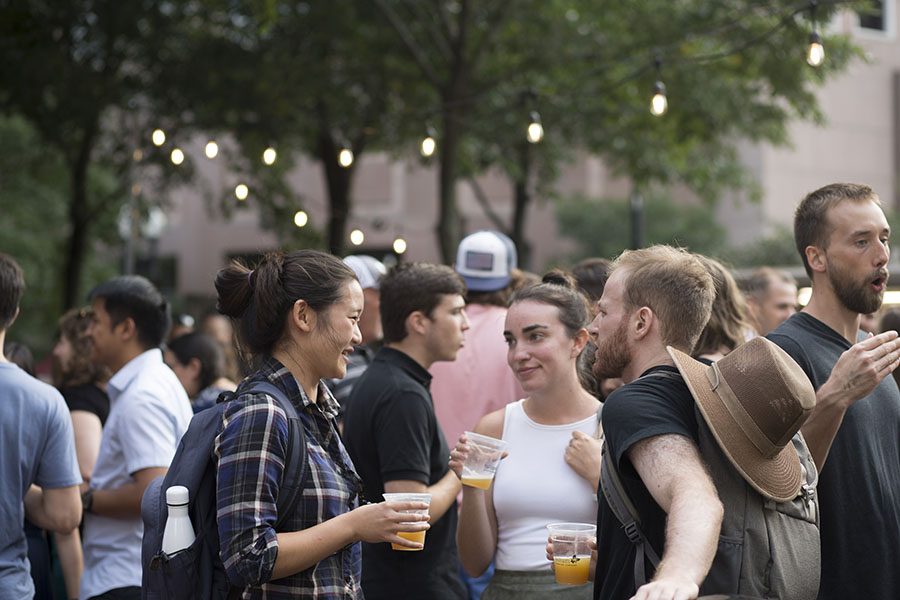 People at the Trillium Garden on the Greenway in 2017