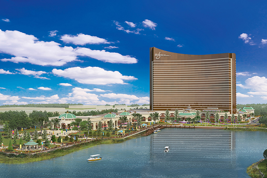 A beautiful sketch of a casino on the water