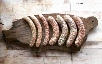 A sausage board by Meadowlark Butcher