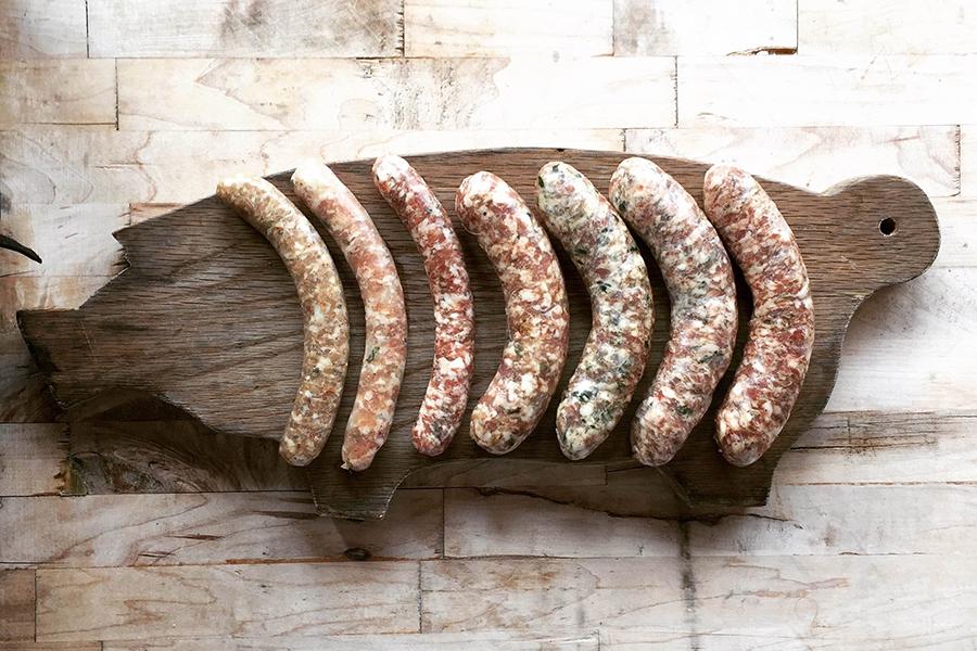 A sausage board by Meadowlark Butcher