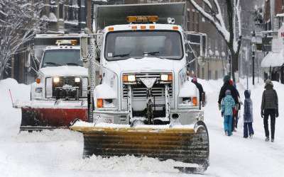 A snow plow in Boston
