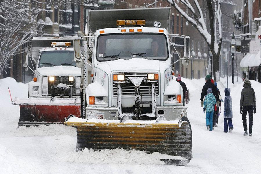 A snow plow in Boston