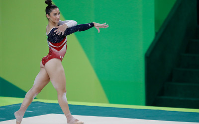 Aly Raisman during the 2016 floor exercise in Rio
