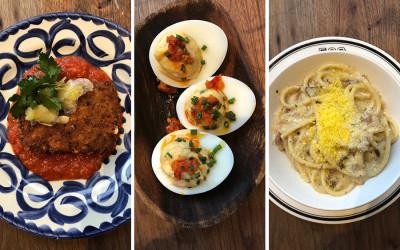 Ed's Mozzarella, Deviled Eggs, and Bucatini Carbonara from Cinquecento's new bar menu