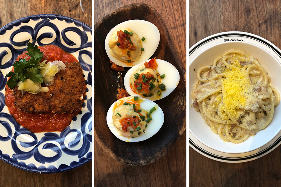 Ed's Mozzarella, Deviled Eggs, and Bucatini Carbonara from Cinquecento's new bar menu