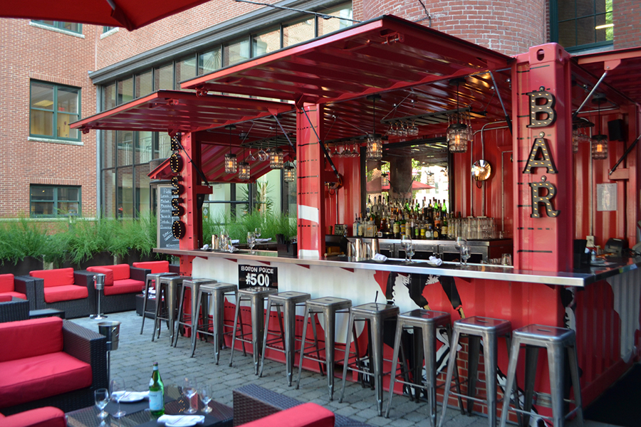 The container bar on Cinquecento's outdoor patio