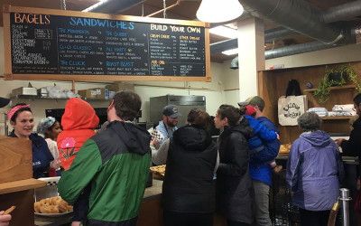 Exodus Bagels in Jamaica Plain during a soft opening on Sunday, Feb. 11