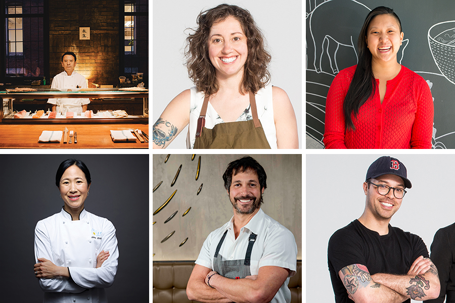 """Clockwise from top left 1) Sushi chef Hiro Konishi at O Ya. / Photograph by Adam Detour for Best Restaurants 2014 2) Benedetto pastry chef Renae Connolly / Photograph by Toan Trinh for Best of Boston 2017 3) Mei Mei chef Irene Li / Photo provided 4) Yvonne's chef Juan Pedrosa / Photo by Toan Trinh for Best of Boston 2017 5) Restarateur Ken Oringer / Photo provided by Uni 6) Flour Bakery + Cafe chef Joanne Chang / Photograph by David Yellen for """"The Interview: Joanne Chang"""""""