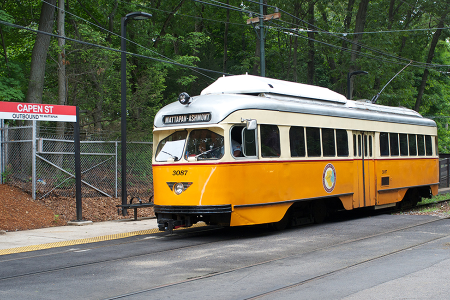 Tram on the MBTA Ashmont-Mattapan line.