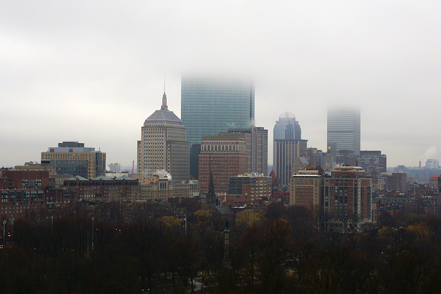 The Boston skyline on a foggy day