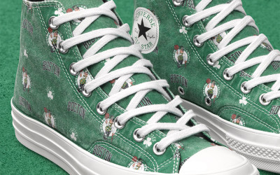 Green high top converse with 80s inspired celtics logo as the print for the new converse NBA edition converse