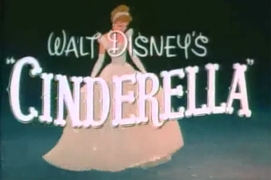 A screenshot from the trailer from the original Cinderella where her dress turns into her fancy dress for the ball