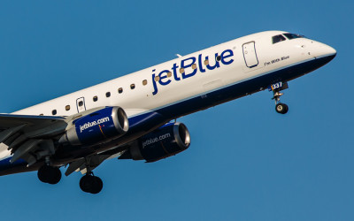 A JetBlue plane takes off