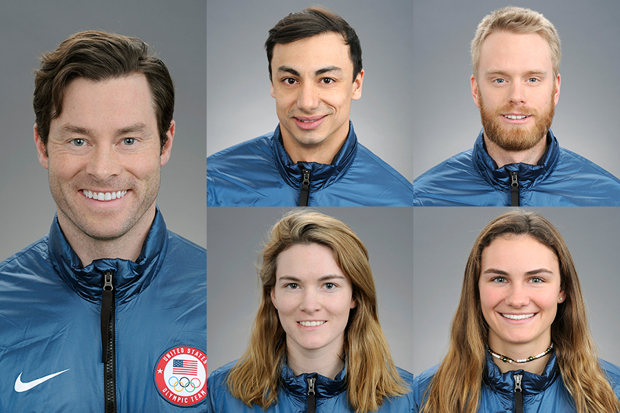 Portrait shots of five Olympians